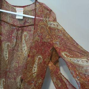Band of Gypsies Sweaters - band of gypsies burgundy patterned kimono size M